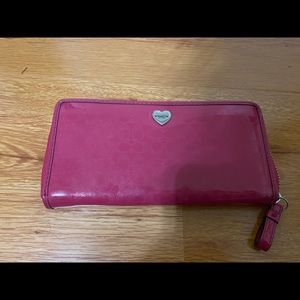 Coach patent leather pink wallet